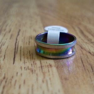 Jewelry - Size 6 - 6.5 Rainbow Stainless Steel Ring Band